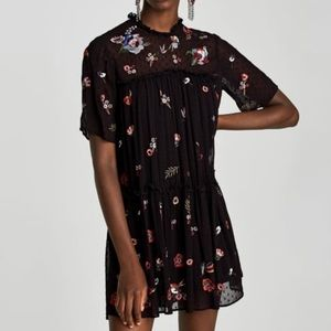 Zara Black Embroidered Dotted Mesh Dress S NWT